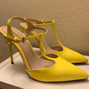 Canary yellow t strap pointy toe heels